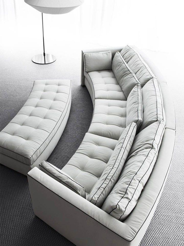 Leather Sofas Simple and clean living spaces Erba Italia presents its new collections in Milan Round CouchClean