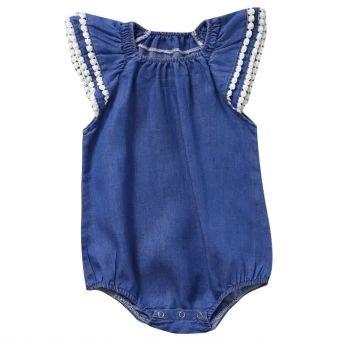 ซื้อเลย  Fashion Cute Newborn Baby Girl Lace Romper Clothes Infant BebesLace Jumpsuit Denim Rompers Jumpsuit Sunsuit - intl  ราคาเพียง  214 บาท  เท่านั้น คุณสมบัติ มีดังนี้ Newest FashionStyle& suit for Newborn BabyGirl cotton High quality and Brand new100%