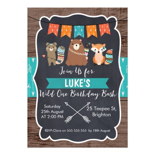 Boys Tribal Animals Chalkboard Birthday Invitation