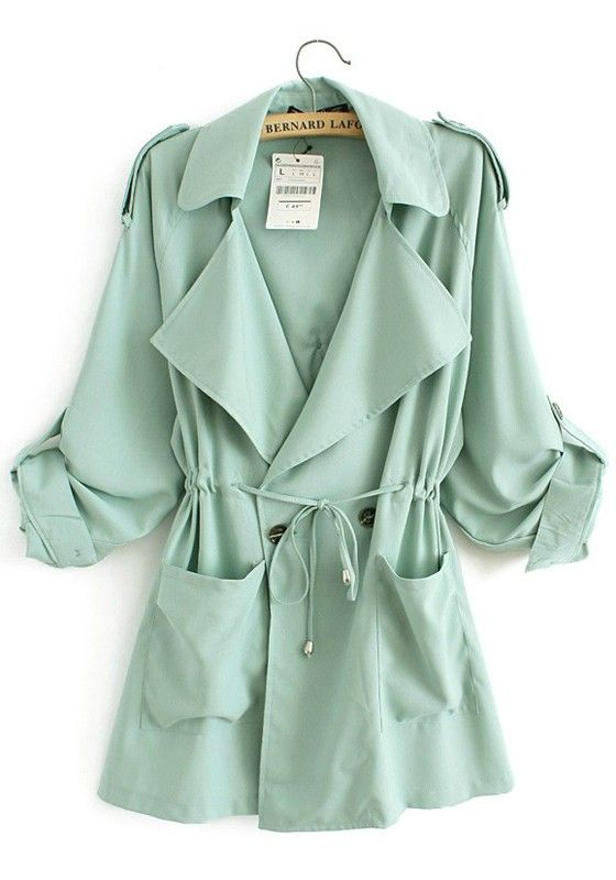 Green Drawstring Pockets Notch Lapel Cotton Trench Coat