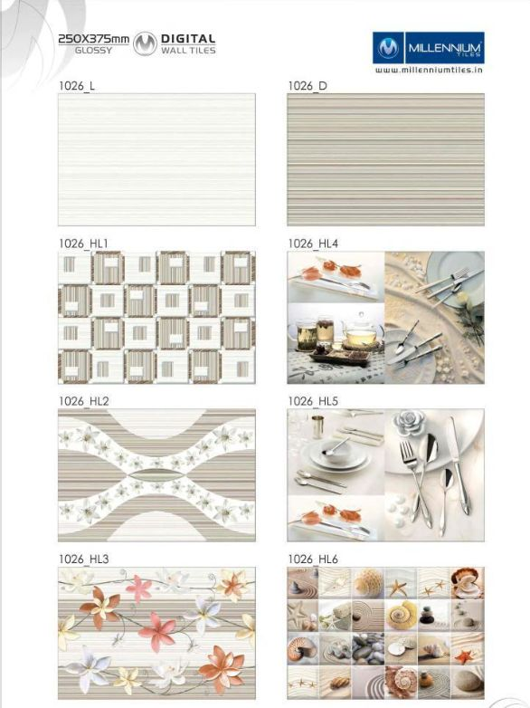 Wall Tile Design 1026 Millennium Tiles 250x375mm 10x15 Digital Ceramic Glossy Walltiles Series 1026 L 1026 Hl1 1026 Wall Tiles Wall Tile Trends