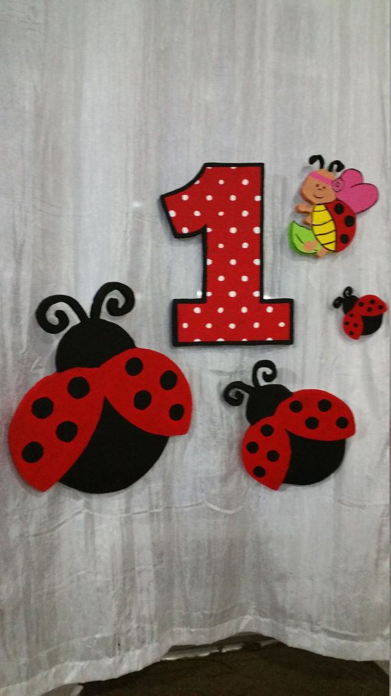 This Lady bug party decoration kit is all you need for your birthday party. All items are made of Styrofoam. Item is painted with acrylics sealer for protection. You can put it in a table or hanger in a wall and decorated your room or party. Ask for another motive party decoration, if I can made it.  The kit for Ladybug party decoration included  1 ladybug big ($15)  1 ladybug small ($6)  1 number (You can select the number) ($15)  3 Centerpieces ($8 each)  You have to hand it with care…