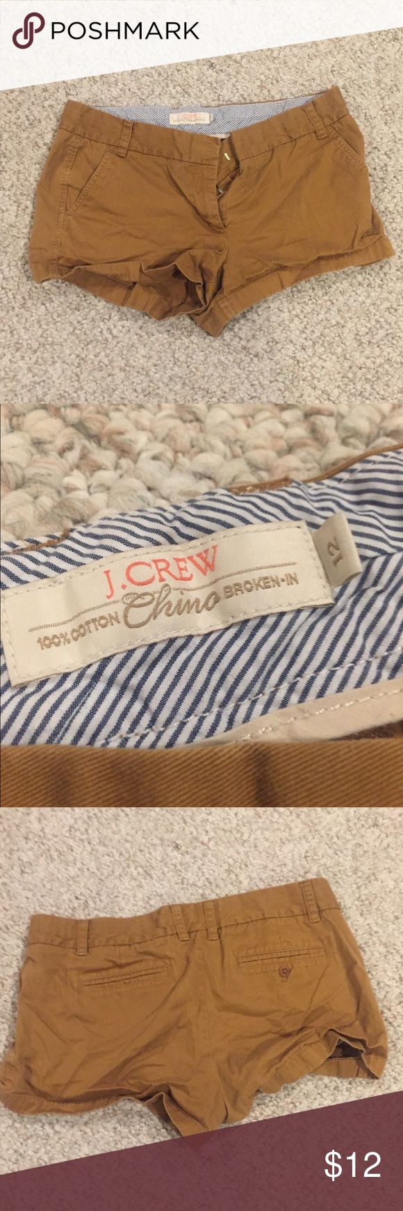 """J. Crew 3"""" Tan Chino Shorts So cute and they go with everything. Worn a few times, but they are really good quality J. Crew Shorts Skorts"""