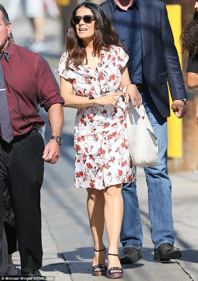 Fun work: Salma Hayek, 49, happily endured her promotional duties for her new film, Sausage Party, as she made her way to the Jimmy Kimmel Live studios in Hollywood on Tuesday