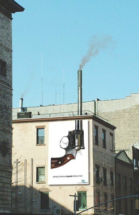 Smoking gun, With this billboard what makes the creative thinking is the way that it has been placed. Taking an image where interacts with the building allows is to look visually strong.