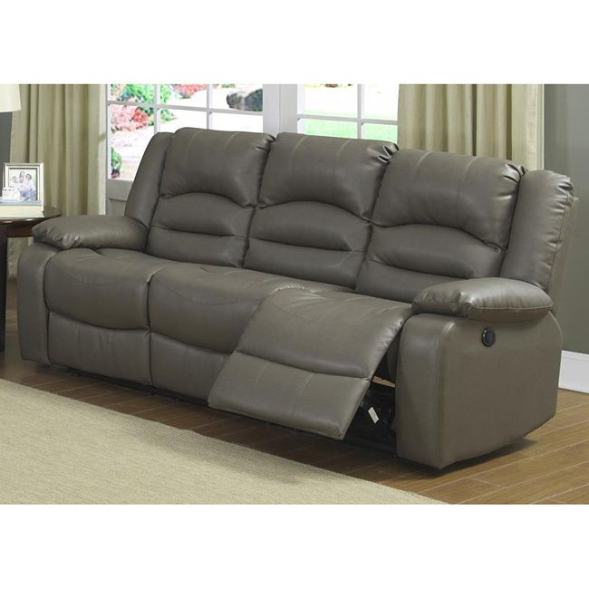 This Gray Power Reclining Sofa adds contemporary style to any room. Enjoy the big game or a movie with family and friends on this comfortable Sofa.
