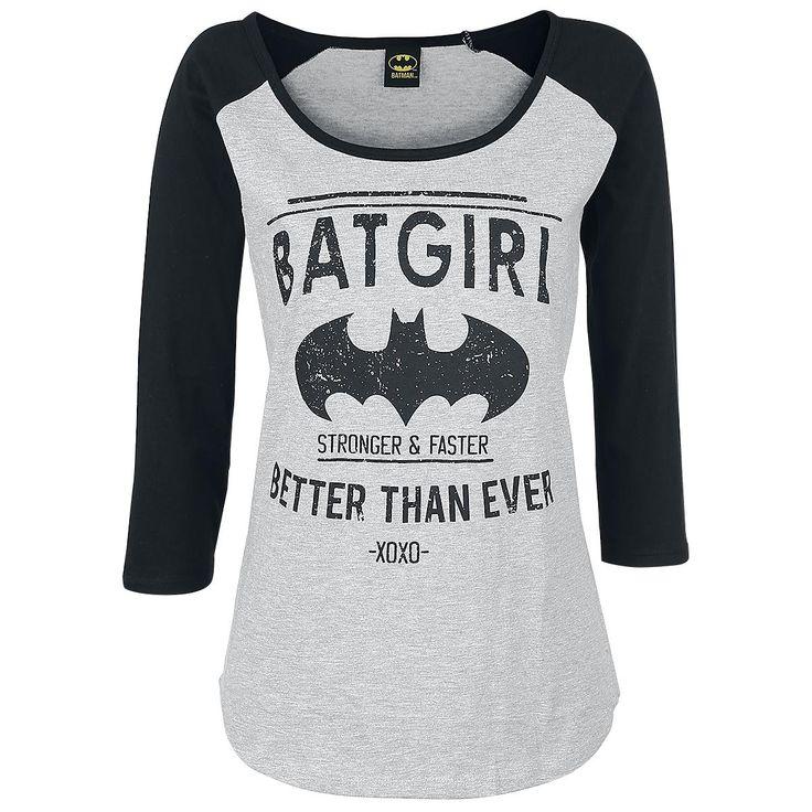 """Batgirl - Better Than Ever - mangas 3/4 - mangas raglan EMP te trae todo lo que quieras de Batman, el caballero oscuro de Gotham City!. Tenemos por ejemplo la camiseta de manga 3/4 """"Batgirl- Better Than Ever"""". La camiseta negra/gris tiene el logo de Batman y el slogan """"Batgirl - Better Than Ever""""."""