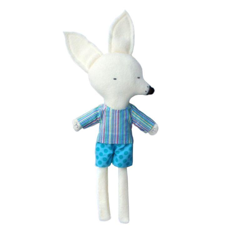 Long-legged White Fox in Polka Dot Blue Shorts by Silly Dolls Canada