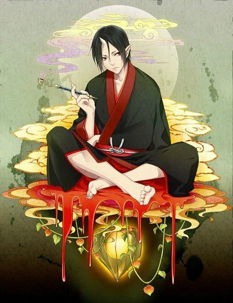 Tags: Anime, Demon, Chimachi, Smoking Pipe, Indian Style Sitting, Single Horn, Hoozuki no Reitetsu