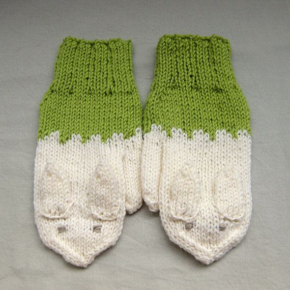Rabbit mittens in light green and white for by SaijaSkills on Etsy, €21.00