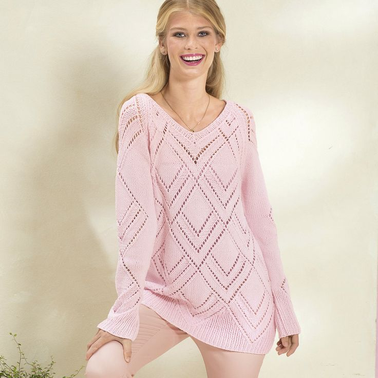 Схема и описание вязания на спицах пуловера с ажурным узором из ромбов из журнала «Сабрина» №2/2016