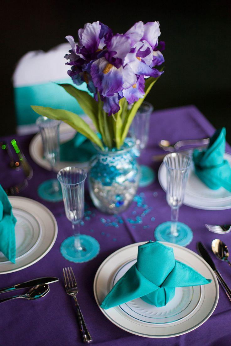 Peacock purple turquoise wedding decor table settings my