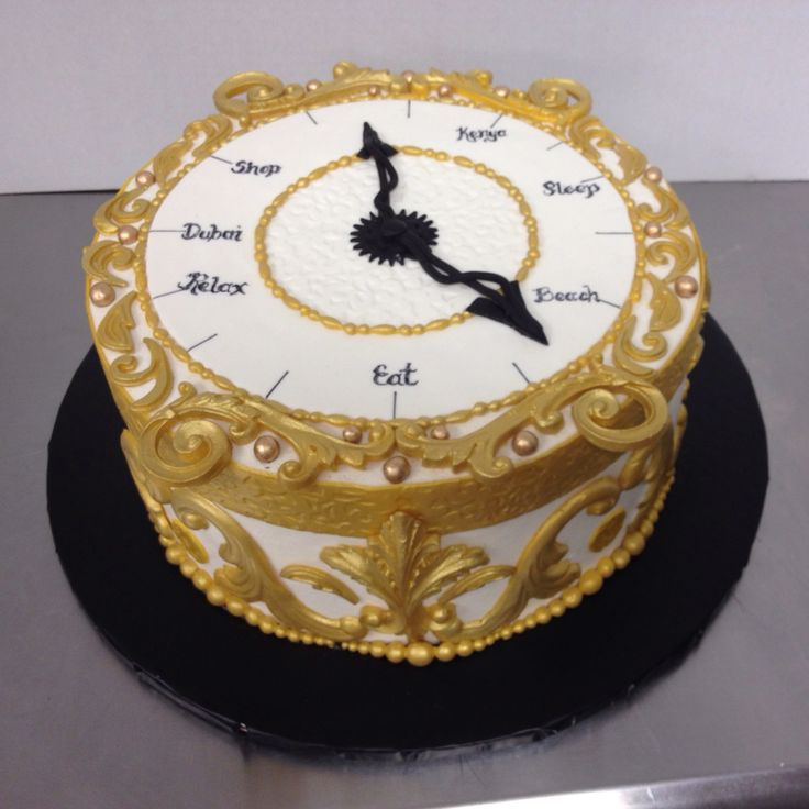 Retirement Clock Cake in gold and black