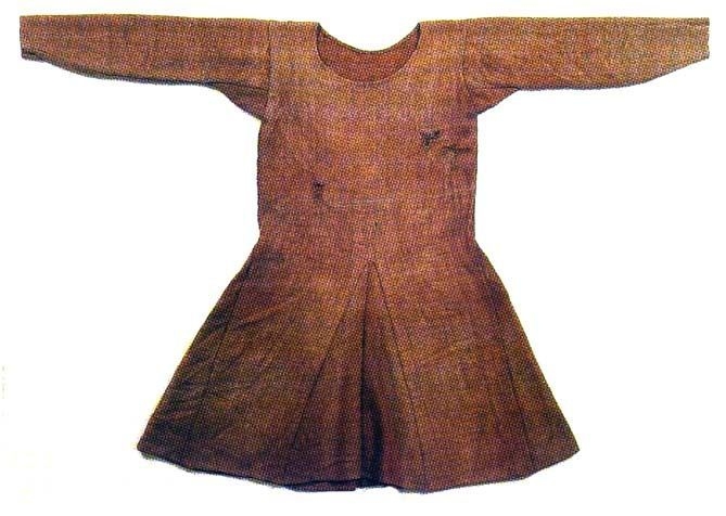 Bocksten tunic man's loose tunic dated to 2nd half of 14th century, Vaberg Museum