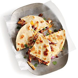 Kickin' BBQ Chicken Quesadilla ~T~ These are amazing. The trick is to use your favorite BBQ sauce. Quick, easy and always satisfying. A Cooking Light Magazine recipe.