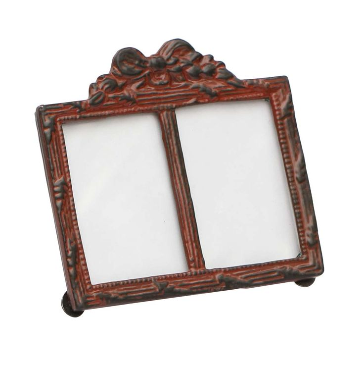 Bulk Wholesale Handmade Double Photo Frame / Picture Stand in Metal Work Decorated with a Bow Design on the Top in Brown Color with Distressed-Look – Table / Wall Décor – Rustic-Look Home Décor
