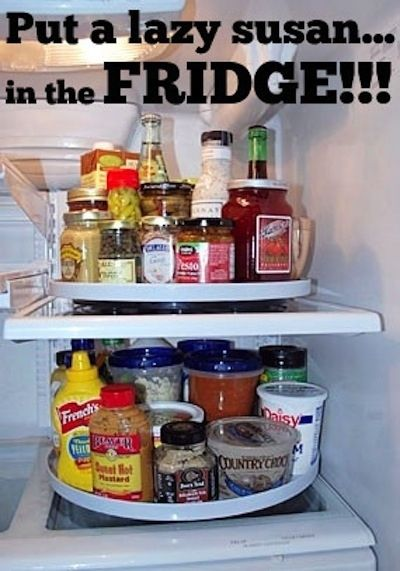 Make everything in your fridge organized and easily accessible.  I was just giving my husband a hard time asking why he never thought of that or me.  Could so save my back from pulling everything out to get one thing you want!  I am SOSOSOSO doing this tomorrow!! And telling everyone!  Your a genius!