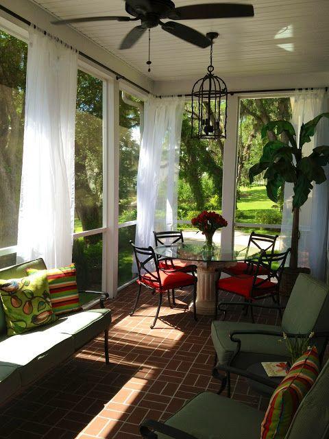 My Work Screened Porch - Outdoor Porch Curtains - Jennifer Taylor Design Blog: Back Porch Livin'