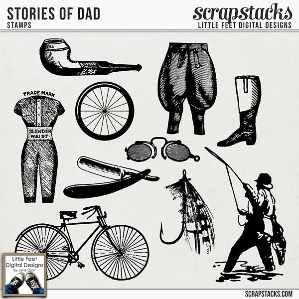 Stories Of Dad Stamps by Little Feet Digital Designs