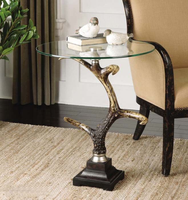 Stag Horn Accent Table Western Cocktail And End Tables   Distinctive Glass  Top Table In A