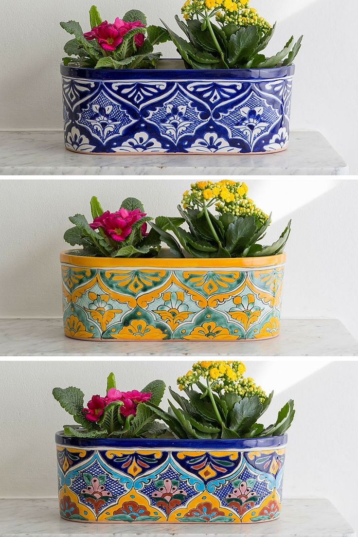 Classic mexican planters. Perfect for adding a splash of colour to your interiors.