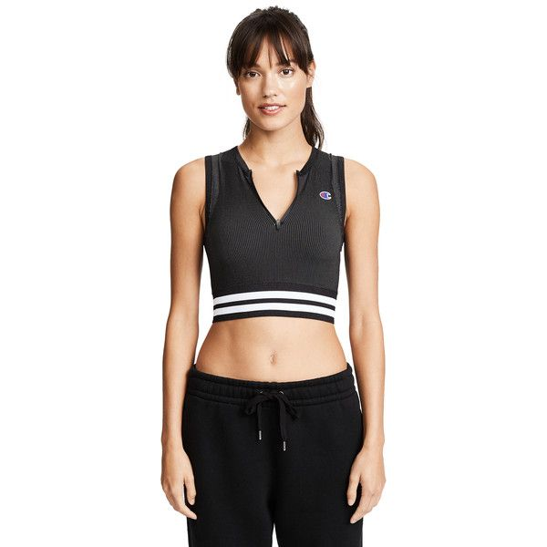 Champion Premium Reverse Weave Sports Bra (€43) ❤ liked on Polyvore featuring activewear, sports bras, black, champion jersey, champion activewear, champion sportswear, zip front sports bra and zipper front sports bra