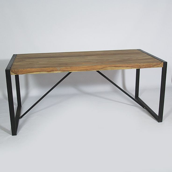 Table de repas industrielle en bois de palissandre fils for Table industrielle loft