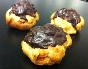 Profiterole recipe. My custard filling recipe is much lower in fat and can be done in the microwave in seconds! This is definitely an impressive traditional French sweet treat that I have made a little healthier.