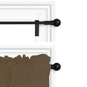 • Metal with a black finish<br>• Ball finials<br>• Adjustable width<br>• Sturdy construction<br>• Twist and shout technology<br><br>Perfect for a dorm room or apartment, the Twist and Shout Curtain Rod from Room Essentials offers a classic look with modern easy-to-hang technology. This black curtain rod doesn't require any tools or drilling—just extend, lock and twist.