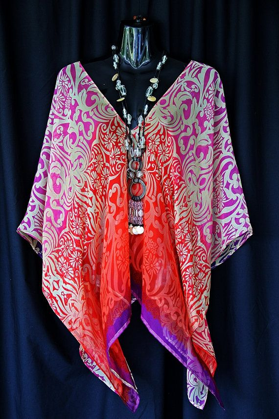 Beautiful Silk Chiffon Kaftan Top by MollyKaftans on Etsy, $99.00