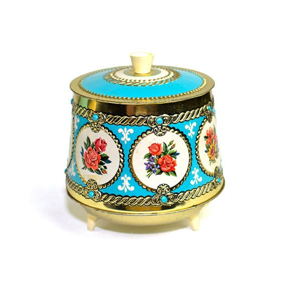 #Vintage #Retro #MidCentury #Aqua #Tin #Canister Jar  Footed Lidded #Shabby #Cottage #Chic #French #FleurDeLis #Turquoise #Metal #Vanity #Bathroom #Kitchen #Kitsch by OneRustyNail on #Etsy