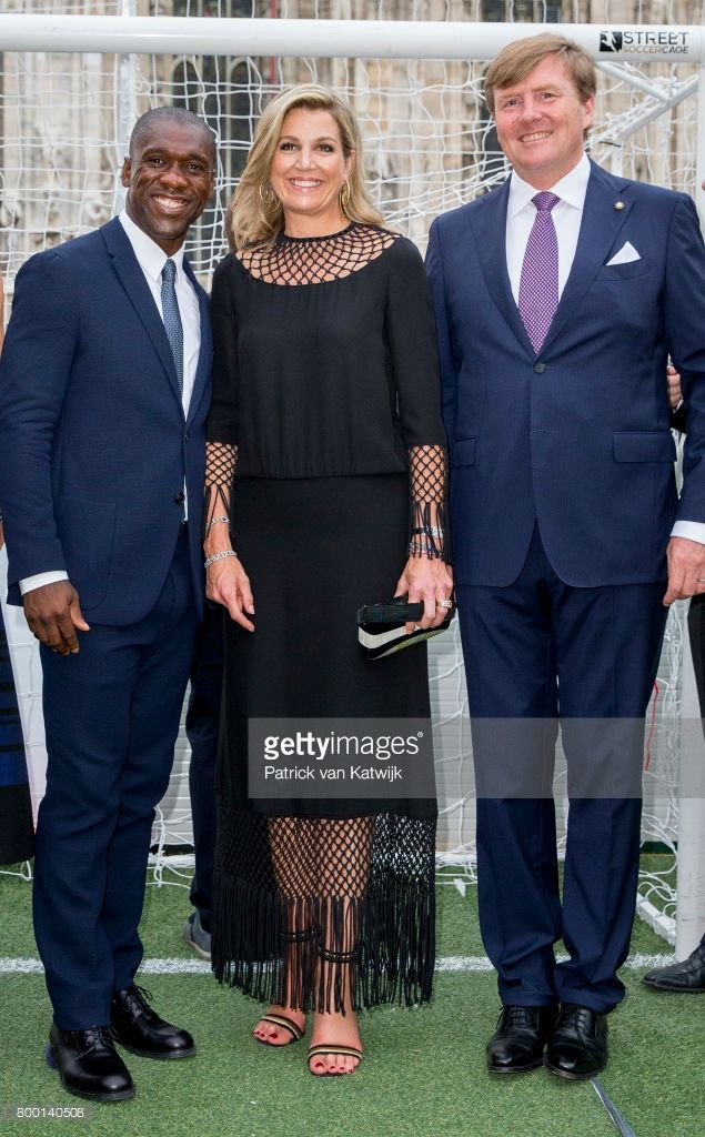 King Willem-Alexander of The Netherlands and Queen Maxima of The Netherlands with Clarence Seedorf attend a soccer clinic with dutch former players at the Piazette Real during the third day of a royal state visit to Italy on June 22, 2017 in Rome, Italy.