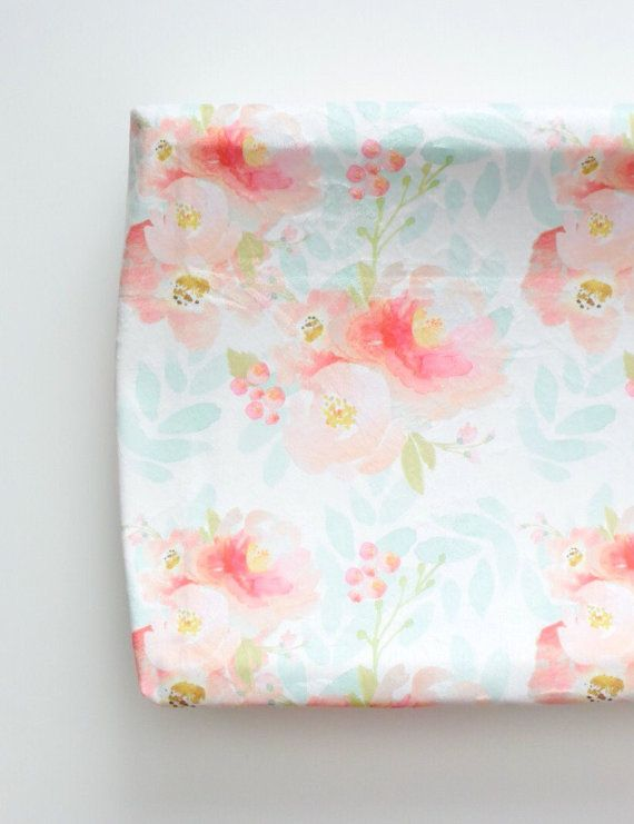 Changing Pad Cover in Indy Bloom Floral in Indy Bloom Pink and Blush Floral with Pale Mint/Aqua