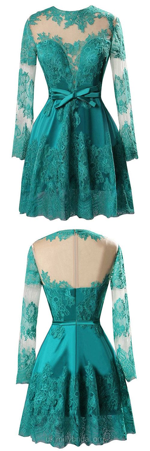 Green Prom Dresses Lace, Short Prom Dresses For Teens Cheap, A-line Evening Party Dresses Long Sleeve, Scoop Neck Formal Pageant Dresses Satin Tulle