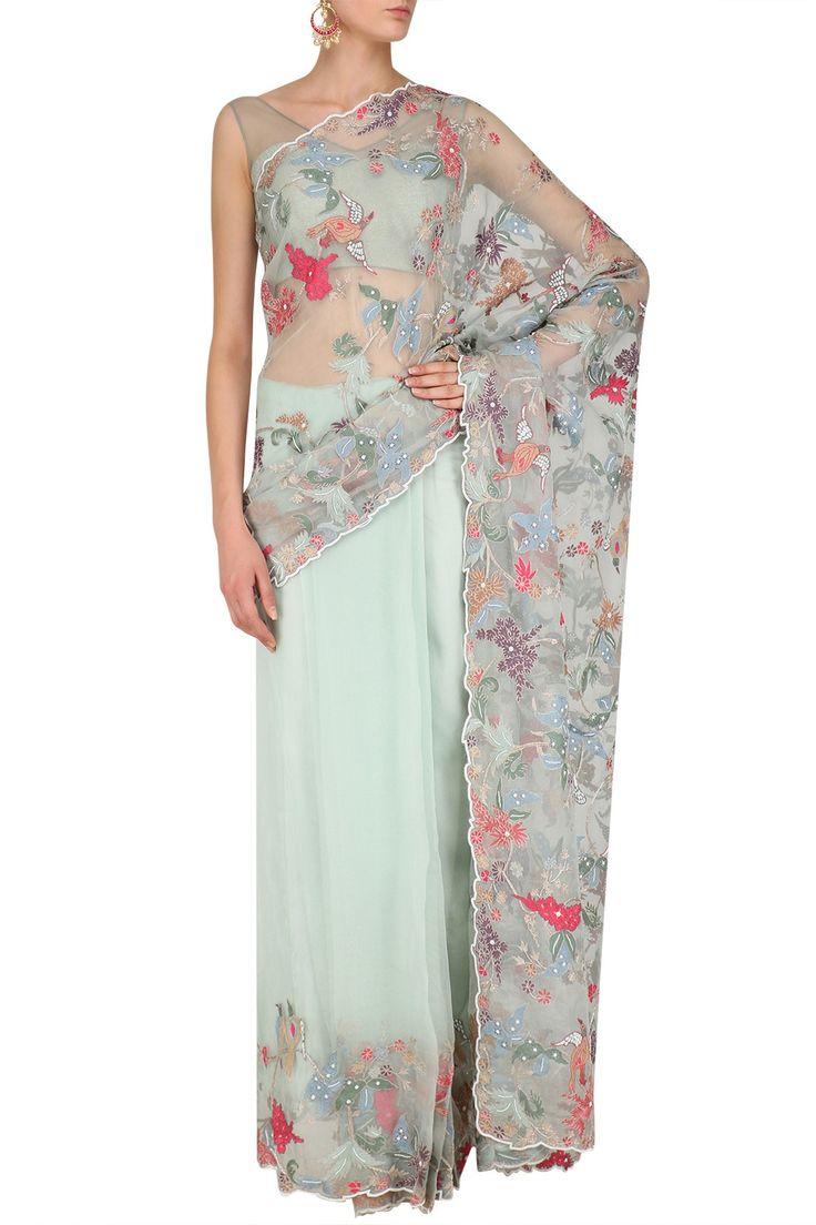 MANSI MALHOTRA Pale Peppermint Organza Sheer Saree, Blouse and Petticoat Set. #mansimalhotra #perniaspopupshop #happyshopping #shopnow #organzasheersaree #traditional #indiandesigner #ethnic #festive