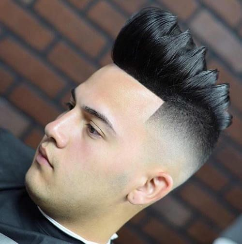 Sectioned Pompadour with High Skin Fade - Pompadour Fade Haircut