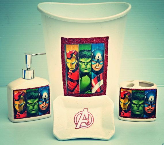 superhero bathroom sets. Bathroom Set Super Heros Avengers by SassyBritchez on Etsy  Visit to grab an amazing super hero shirt now sale 96 best Home D cor images Pinterest room Superhero