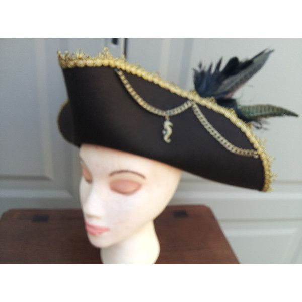 Pirate hat tricorn style brown with gold trim (480 PLN) ❤ liked on Polyvore featuring accessories, hats, pirate hat, flat hat, brown hat, brown pirate hat and feather hat
