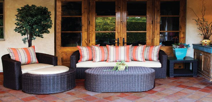 The Palomar Collection is a luxurious and comfortable line of furniture. The modern curves are tempered with a traditional, rounded wicker to provide that transitional feel. The high wrapped arms and loose pillowbacks allow you to nestle into a cozy position at anytime.