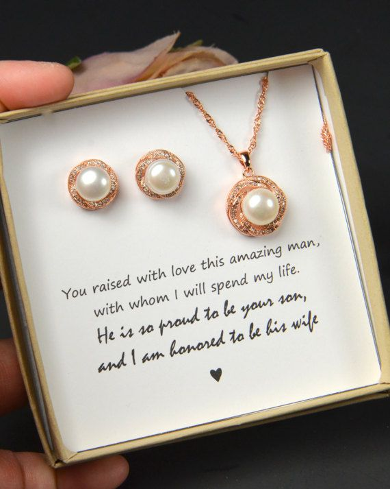 Mother of the groom gift from bride, Mother of Groom gift set, fresh water pearl, wedding jewelry, Thank you mother of the groom