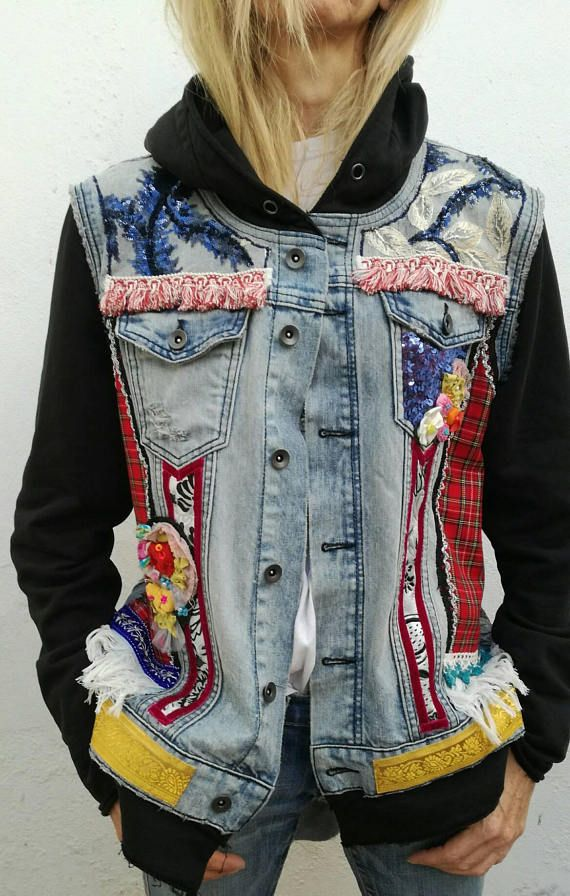 Bohemian upcycle denim jacket embellished with Patchwork and