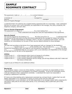 Template For Roo mmate Rules - Invitation Templates - roommate contract agreement form