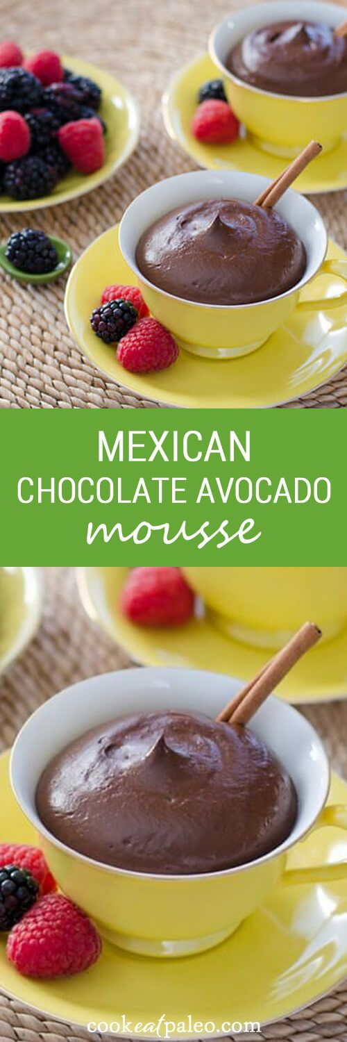 This Mexican chocolate avocado mousse is gluten-free, dairy-free and egg-free. ~ http://cookeatpaleo.com