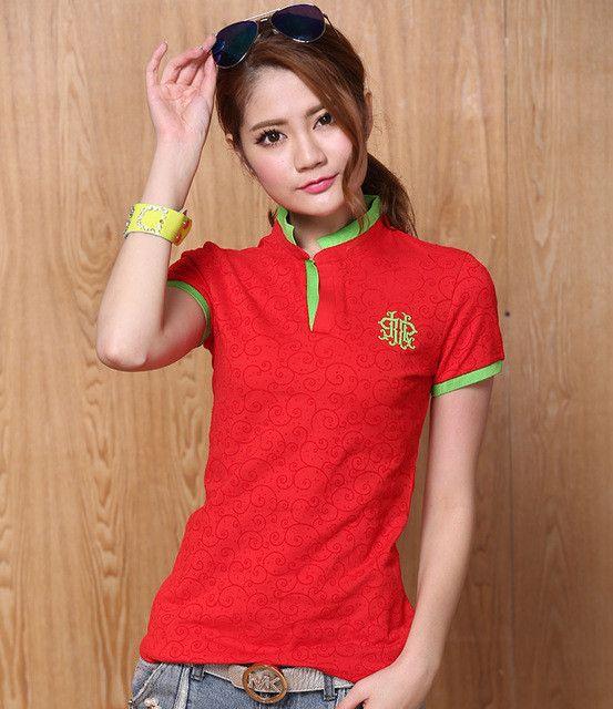 2016 High Quality Women Polo Shirt Cotton Slim Polo Femme Shirt Plus Size Brand Polo Raph Women S-XXXL Velvet Printed