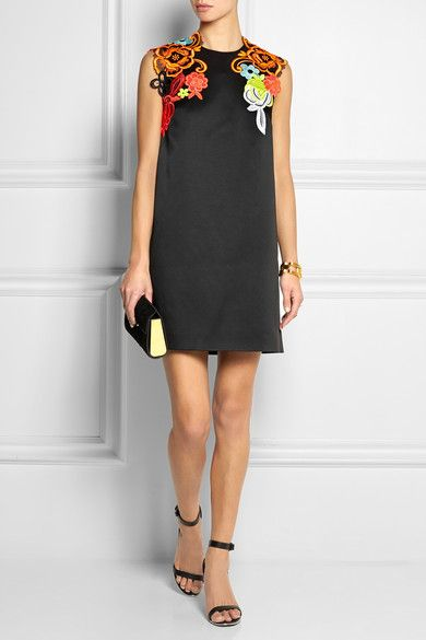 Christopher Kane Neon guipure lace-appliqued cady mini dress