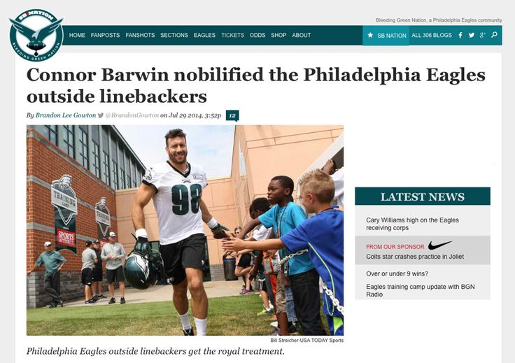 The Philadelphia Eagles outside linebacker meeting room is a little more decorated than it used to be thanks to Connor Barwin.  Barwin, once described as the NFL's modern man, seemingly purchased a number of old-fashioned portraits created by an outlet known as Noblified. All Eagles OLBs are included: Trent Cole, Marcus Smith II, Brandon Graham, Bryan Braman, Travis Long, Josh Kaddu, and Barwin himself.