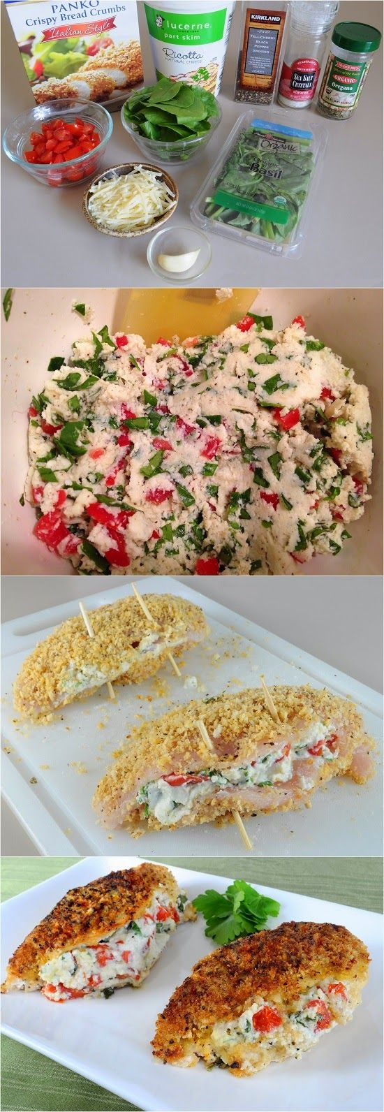 Italian Panko Crusted Stuffed Chicken -I made this gluten free by using almond meal and Italian spices instead of Panko