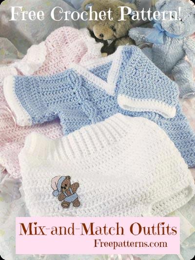 Free Mix-and-Match Outfits Crochet Pattern -- Download this free crochet baby outfit pattern from FreePatterns.com.