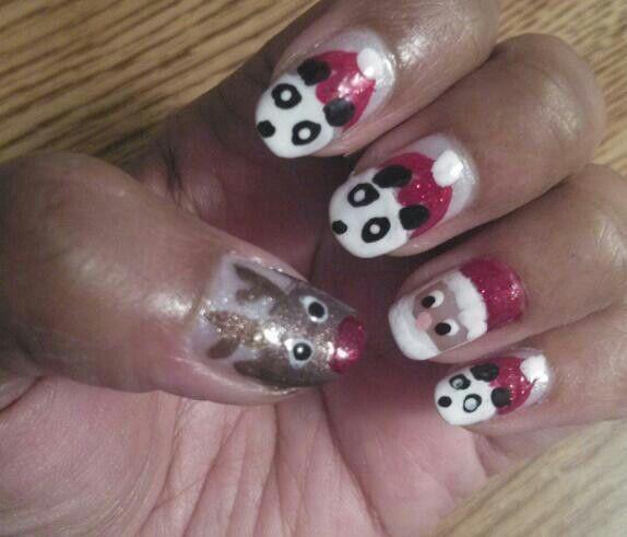 Pandas, Santa, Rudolph - Christmas nails!