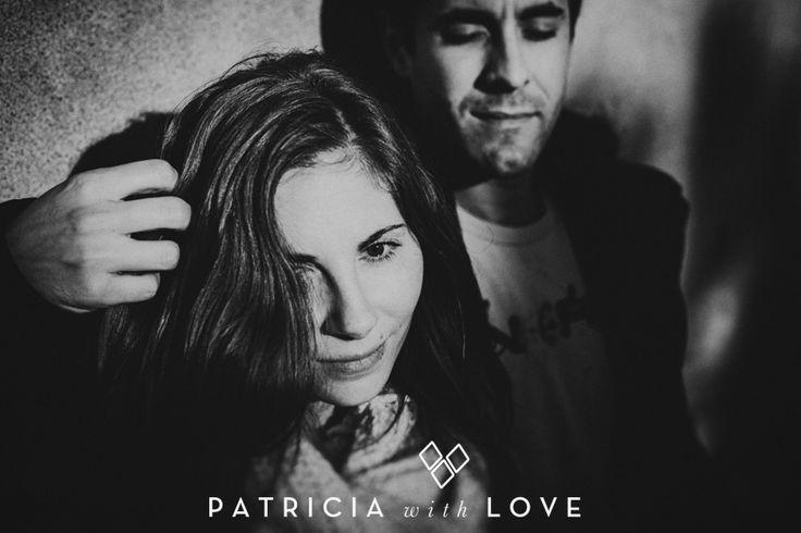couple. black and white photo. love